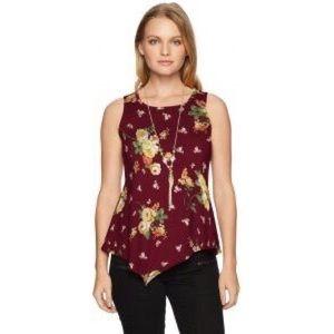 3/$20 Star Vixen Keyhole Floral Hanky Hem Blouse